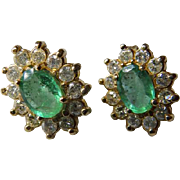 14K YG Emerald & Diamond Stud Earrings