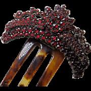 Antique Bohemian Garnet Hinged Three Prong Hair Comb Tiara