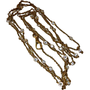 Victorian GF Bezel Set Open Back Crystal Guard of Muff Chain