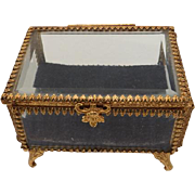 Vintage Glass & Gilded Brass Trinket/Dress Box