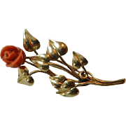 Edwardian 14K YG Leaf & Coral Rose Brooch/Pin