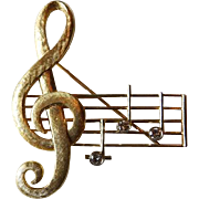 Vintage 14K YG Treble Clef Brooch/Pin With Diamonds