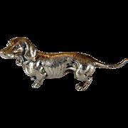 Vintage 800 Silver Dachshund Figurine