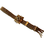 Victorian Mesh Slide Bracelet With Seed Pearls & Tassels Gold filled