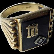 Vintage 14K YG Onyx & Diamond Initial Ring