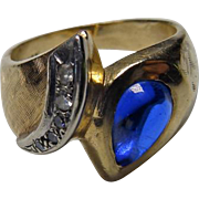 Estate 14K YG Ring With Sapphire & Diamonds