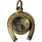Victorian Compass & Horseshoe Watch Fob Gold Tone