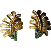 Vintage 18K YG Leaf Earrings With Emeralds