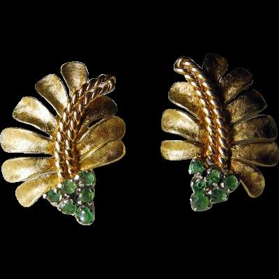 Vintage 18K YG Leaf Earrings With Emeralds