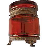 Antique Ruby Glass Casket Bronze Ormolu Trim
