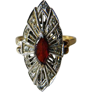 14K Edwardian/Deco Garnet & Diamond Cocktail Ring