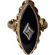 Art Deco 10K YG Onyx & Diamond Ring