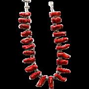 Vintage Coral Branch & Skull Head Necklace