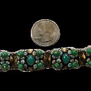 Vintage Signed Czech Enamel & Faux Jade Bracelet