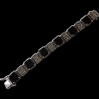 Art Deco Sterling Onyx & Marcasite Bracelet