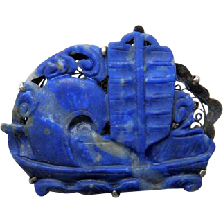 Late 19th C Chinese Carved Lapis & Silver Dress Clip