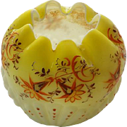Consolidated Shell Pattern Rose Bowl With Hand Enameled Embossed Decorations.
