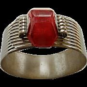 Interesting Art Deco Chrome Bracelet With Red Plastic Stone
