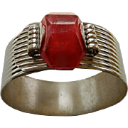 Interesting Art Deco Chrome Bracelet With Red Plastic Stone