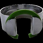 Unusual Art Deco Chrome & Green Plastic Bracelet