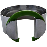 Unusual Art Deco Chrome & Green Plastic Bracelet