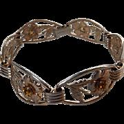 Vintage Sterling Floral Line Bracelet