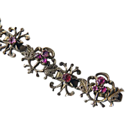Victorian Silver & Ruby Choker Style Necklace