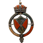 Scottish Victorian Sterling Coat of Arms Brooch