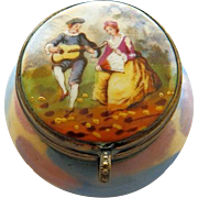 Antique French 19th C Rouge Pot Porcelain Box Courting Scene