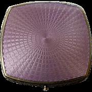 Art Deco Sterling Guilloche Enamel Lavender Compact