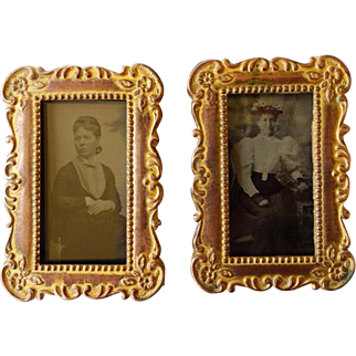 Pair Victorian Small Easel Back Frames With Tintypes