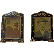 Pair Mini Art Deco Frames With Tintypes