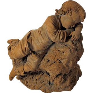 19th Century Terra Cotta Sculpture of Young Lad