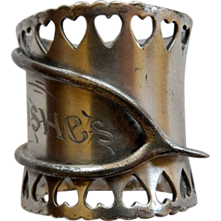 Victorian Silver Plate Wishbone Best Wishes Napkin Ring