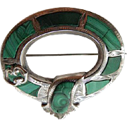 Scottish Victorian Sterling & Malachite Garter Pin
