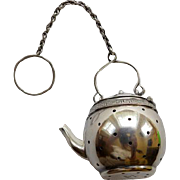 Sterling Tea Pot Shaped Tea Strainer