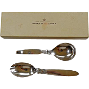 Georg Jensen Boxed Sterling Serving Fork & Spoon Cactus Pattern Boxed