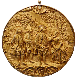 Unusual 18th-19th C Medallion With 14K Mounts Brooch/Pendant