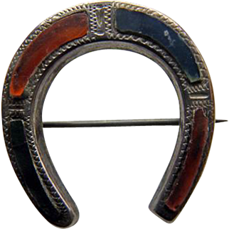 Scottish Victorian Sterling & Agate Horseshoe Brooch/Pin