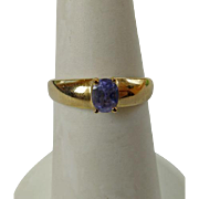 Vintage 10K YG & Blue Spinel Ring