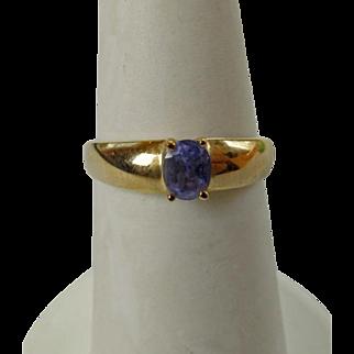 Vintage 10K YG & Blue Spinel Ring