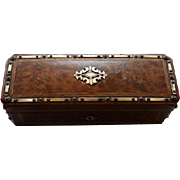Antique French Burled Walnut Glove Box With MOP & Brass Inlay