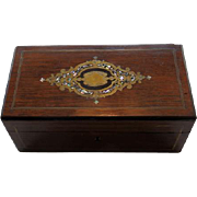 English Wood Dresser Box With MOP & Brass Inlay