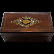 English Wood Dresser Box With MOP & Brass Inlay