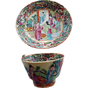 Wonderful Early Famille Rose/Rose Medallion Cup & Saucer