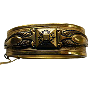 Victorian Hinged Bangle Bracelet With Black Enamel