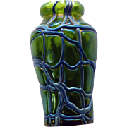 Bohemian Art Glass Art Nouveau Threaded Glass Vase Loetz or Kralik