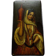 Antique Hand Painted Papier Mache Snuff Box