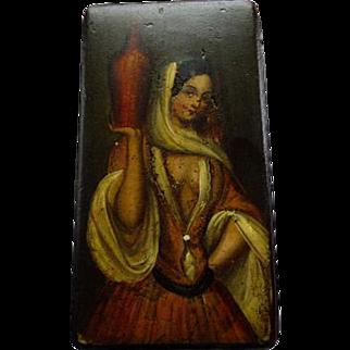 Antique Hand Painted Papier Mache Snuff Box