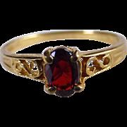 Vintage 14K YG & Garnet Ring